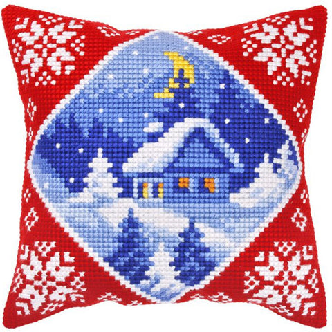Orchidea Tapestry Cross Stitch Cushion Cover - Winter Cabin