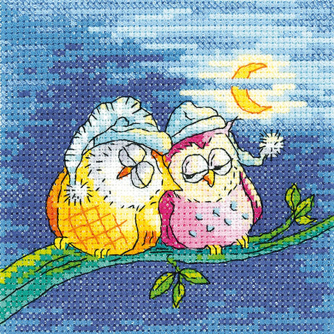 Heritage Crafts Birds Of A Feather Cross Stitch Kit - Night Owls (Evenweave)