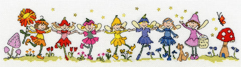Bothy Threads Cross Stitch Kit - Row of Fairies