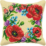 Orchidea Tapestry Cross Stitch Cushion Cover - Poppies on Cream