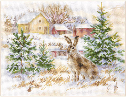 Alisa Cross Stitch Kit - Winter Day Brown Hare