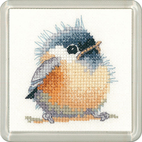 Heritage Crafts Little Friends Coaster Cross Stitch Kit - Chickadee
