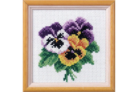 Orchidea Printed Cross Stitch Kit - Pansy Posy