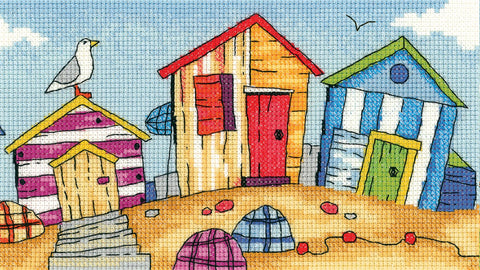 Heritage Crafts By The Sea Cross Stitch Kit - Beach Huts (Aida)