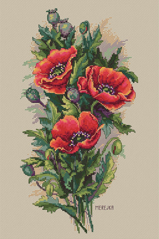 Merejka Cross Stitch Kit - Vintage Poppies
