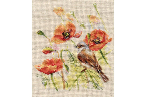 Alisa Cross Stitch Kit - Little Bird and Poppies