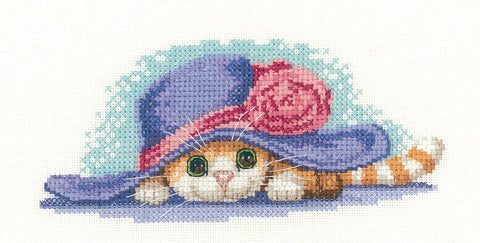 Heritage Crafts Little Darlings Cross Stitch Kit - Cat In Hat (Evenweave)