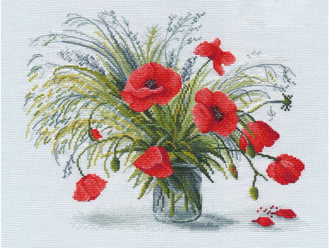 Oven Cross Stitch Kit - Scarlet Poppy