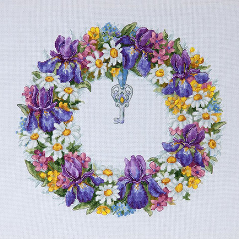 Merejka Cross Stitch Kit - Wreath With Irises