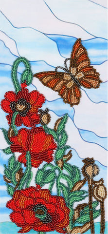 VDV Bead Embroidery Kit - Decorative Poppies 2