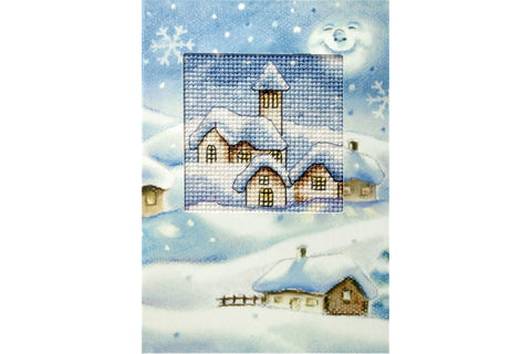 Orchidea Printed Cross Stitch Card Kit - Snowy Christmas Scene