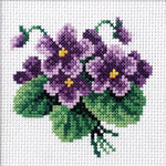 Orchidea Stamped Cross Stitch Kit - Viola