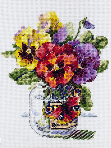 Merejka Cross Stitch Kit - Pansies and Butterfly