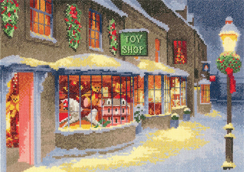 Heritage Crafts Cross Stitch Kit - Christmas Toy Shop (Aida)