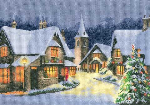 Heritage Crafts Cross Stitch Kit - Christmas Village (Evenweave)