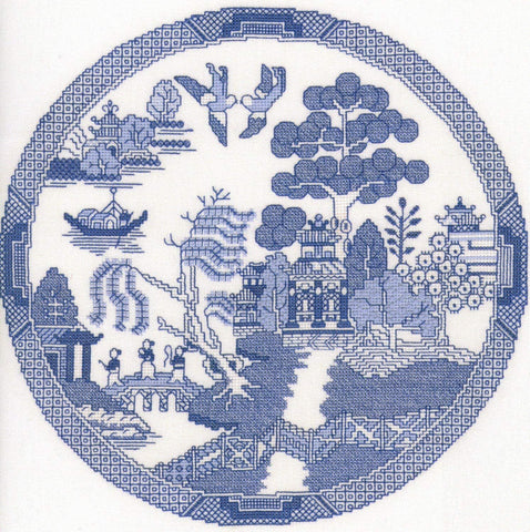 Heritage Crafts Cross Stitch Kit - Willow Pattern
