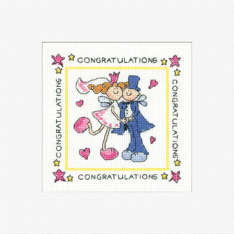 Heritage Crafts Cross Stitch Greeting Card Kit - Fairy Wedding
