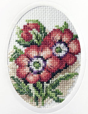 Orchidea Cross Stitch Card Kit - Anemones