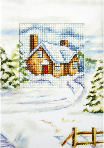 Orchidea Cross Stitch Card Kit - Snowy Cottage
