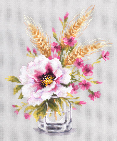 Magic Needle Cross Stitch Kit - Poppy and Maiden Pinks