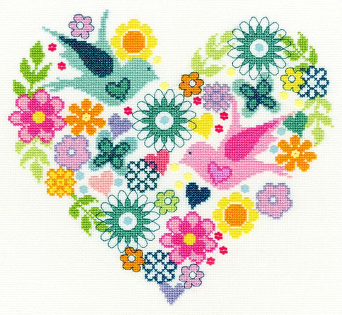 Bothy Threads Cross Stitch Kit - Heart Bouquet