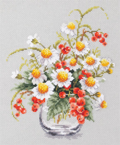 Magic Needle Cross Stitch Kit - Chamomile and Red Currant