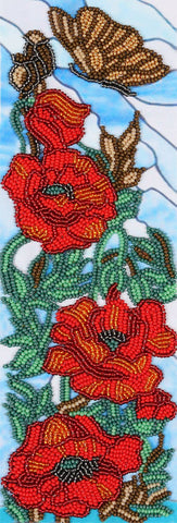 VDV Bead Embroidery Kit - Decorative Poppies 1