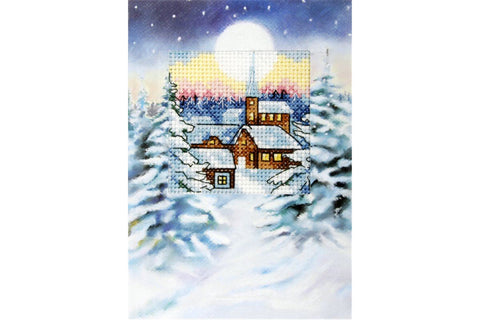 Orchidea Cross Stitch Card Kit - Snowy Moonlit Village