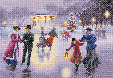 Heritage Crafts Cross Stitch Kit - Christmas Skaters (Aida)