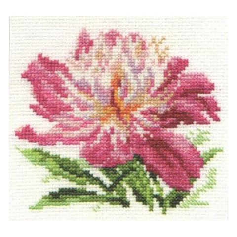 Alisa Cross Stitch Kit - Pink Peony