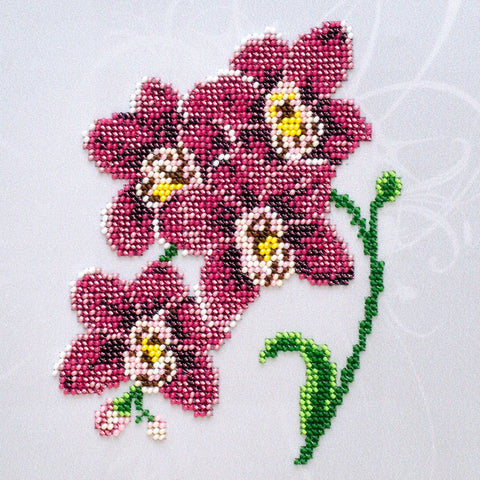 VDV Bead Embroidery Kit - Red Orchid