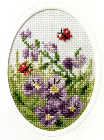 Orchidea Stamped Cross Stitch Card Kit - Pansies