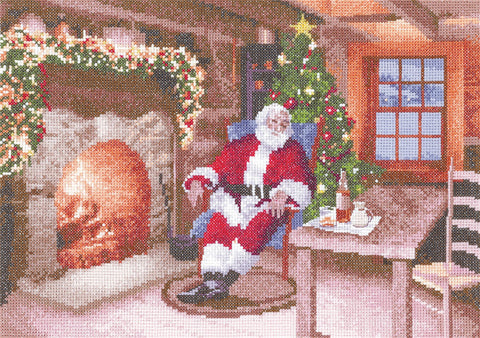 Heritage Crafts Cross Stitch Kit - Santa's Job Done (Evenweave)