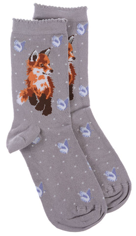 Wrendale Designs Fox Sock with Gift Bag - Born to be Wild