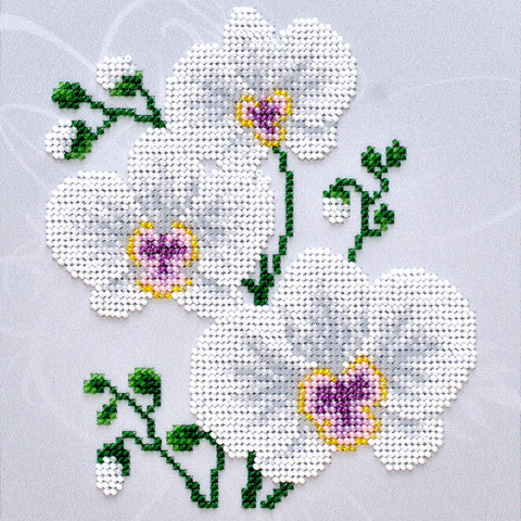 VDV Bead Embroidery Kit - White Orchid