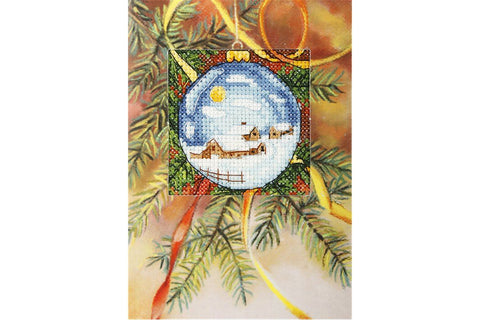 Orchidea Cross Stitch Card Kit - Snowy Village Christmas Bauble