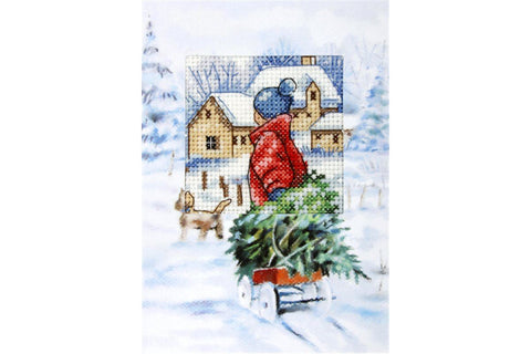 Orchidea Cross Stitch Card Kit - Collecting the Christmas Tree