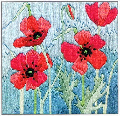 Derwentwater Designs Silken Long Stitch Kit - Wild Poppies