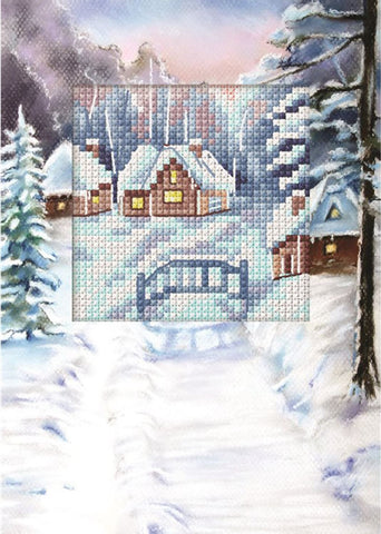Orchidea Cross Stitch Card Kit - Snowy Bridge and Cottages