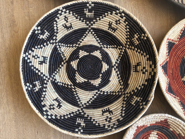 Black and Beige Woven Basket
