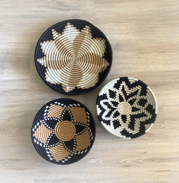 Set of 3 African Wall Baskets