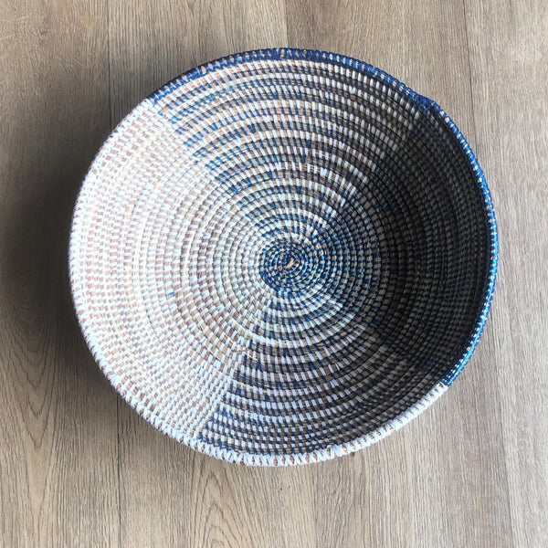 African blue and white basket