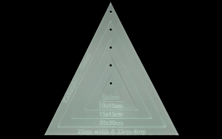 25CM X 25CM (drop) TRIANGLE ACRYLIC SEWING/CRAFT TEMPLATE SET