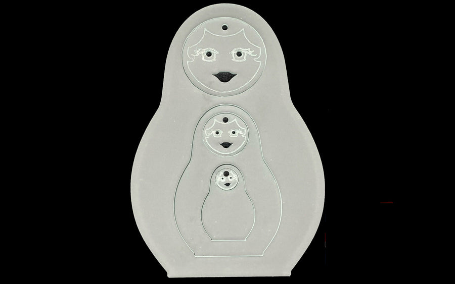 "A SET OF THREE ACRYLIC RUSSIAN DOLL 6"" SEWING/CRAFT TEMPLATES"