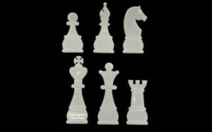 A SET OF 6 CHESS PIECE ACRYLIC TEMPLATES