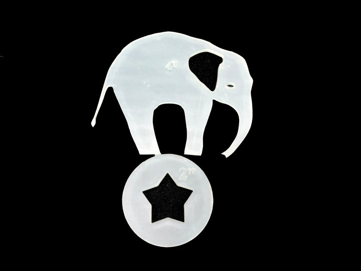 A CIRCUS ELEPHANT ACRYLIC SEWING/CRAFT TEMPLATE from 3""
