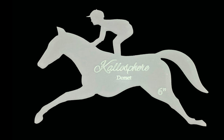 A HORSE AND JOCKEY ACRYLIC SEWING/CRAFT TEMPLATE from 4""