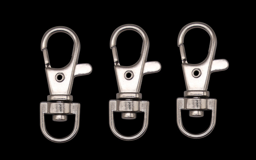 Three 35mm lobster swivel clasps / keyrings - CHROME