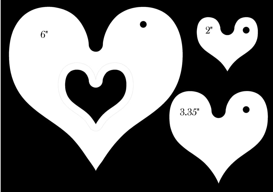 SET OF THREE HEART ACRYLIC MACHINE QUILTING TEMPLATES 4MM OR 6MM THICK