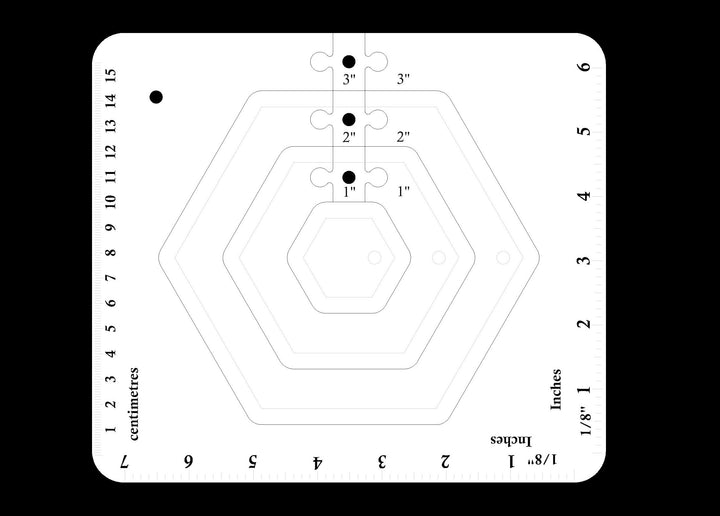 A SET OF HEXAGON ACRYLIC MACHINE QUILTING TEMPLATES 4MM OR 6MM THICK